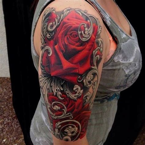 detailed rose tattoos detailed roses with ornamental on arm