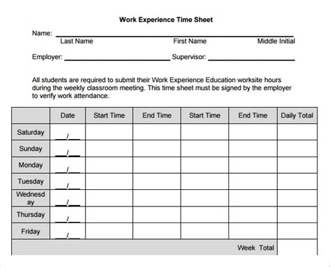 11 Sle Work Timesheet Calculators Sle Templates Work Timesheet Template