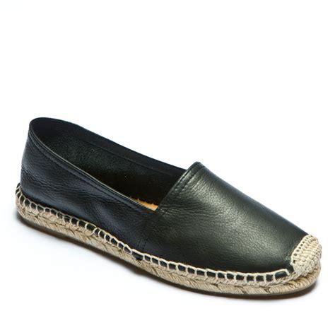 Flat Black Leather espadrille co uk black leather classic flat espadrille