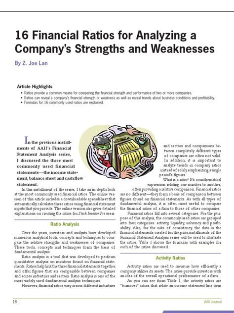 16 financial ratios to determine a company s strength and weaknesses revenue ratio