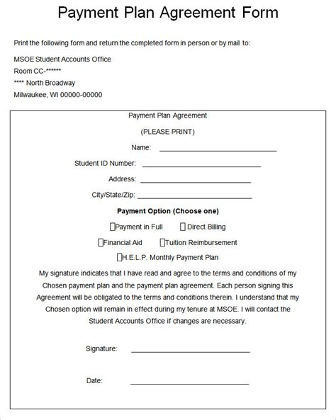 payment plan form template payment plan agreement template 21 free word pdf
