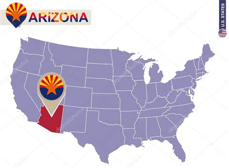arizona map usa arizona state on usa map arizona flag and map stock