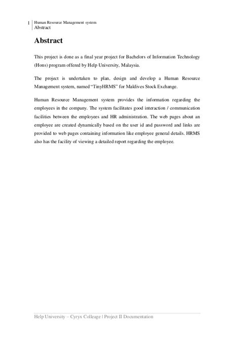 thesis abstract human resource management human resource management system