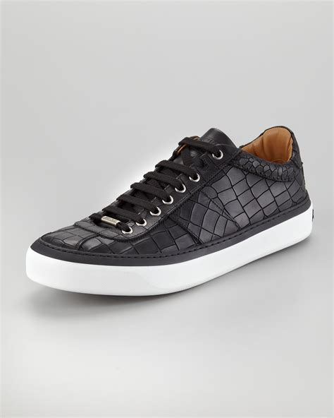 mens black sneakers jimmy choo portman crocodileembossed sneakers black in