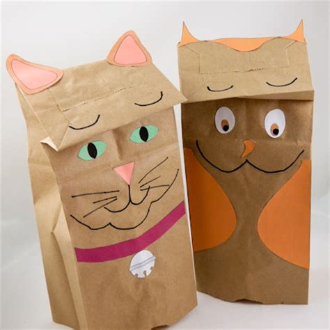 Paper Bag Puppet - how to make paper bag puppets cat and owl puppets