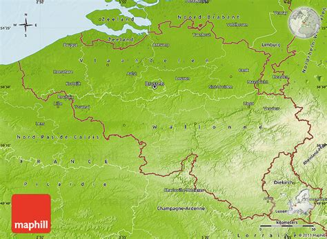 geographical map of belgium physical map of belgium