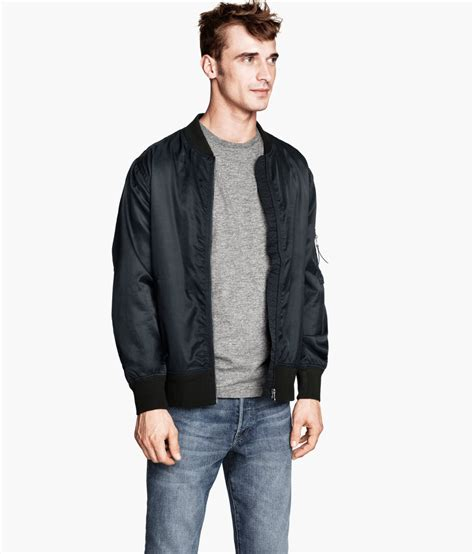 Jaker Hoodie Outerwear Jaket Bomber Hoodie h m bomber jacket in gray for lyst