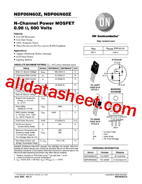 transistor zg datasheet ndf06n60zg fiche technique pdf on semiconductor