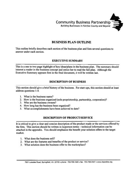 sole proprietorship business plan template business plan outline