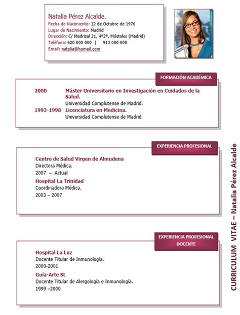 Plantilla De Curriculum Vitae Medico Curriculum Medico Enfermera 031 Cvexpres