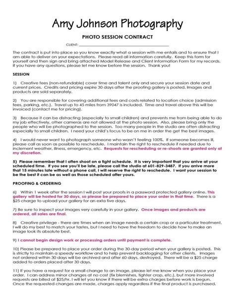 Agreement Letter For Photography Contract Sle Photography Ads And Promos Ideas