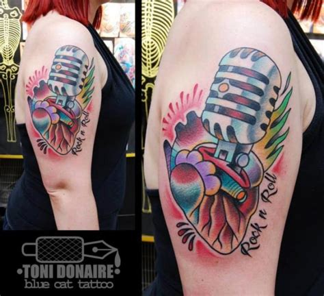 old school microphone tattoo shoulder school microphone by blue cat