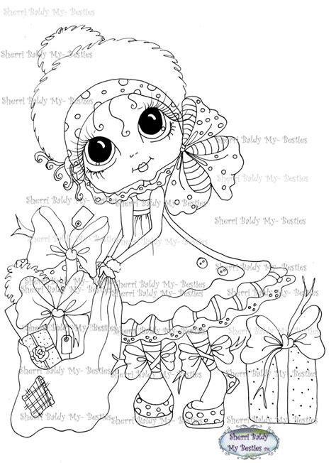sherri baldy my besties magical winter coloring book books instant digital digi sts big eye big dolls