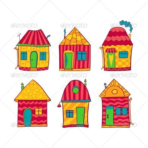 small cartoon house illustration shows done style isolated colorful houses set in cartoon style sourcecodes pro