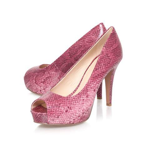 nine west camya3 high heeled peep toe court shoes in pink