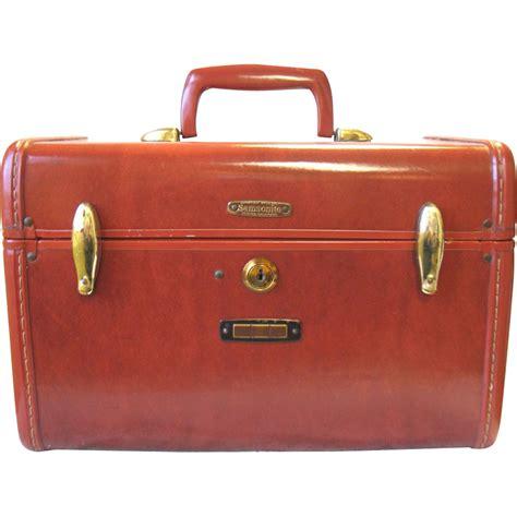 American Tourister Vanity Bag Vintage Samsonite Brown Train Case Cosmetic Make Up