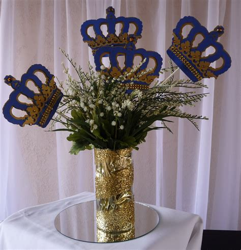 Royal Crown Centerpiece Stick Royal Blue And Gold Royal Baby Royal Baby Shower Centerpieces