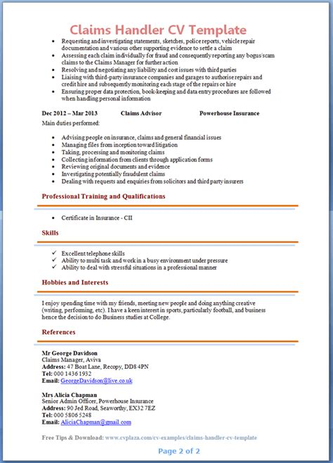 Insurance Negotiation Letter resume exles for claims manager resume ixiplay free