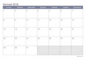 Calendario Año 2017 Excel Calendario Gennaio 2018 Da Stare Icalendario It