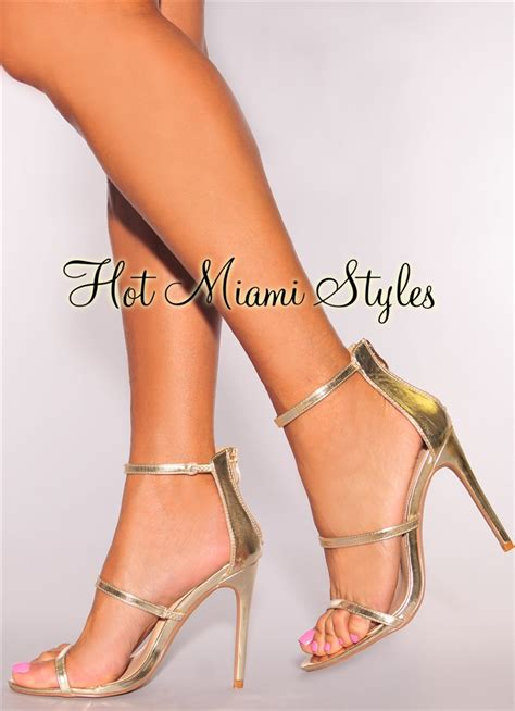 Faux Leather High Heel Sandals gold faux leather high heel sandals