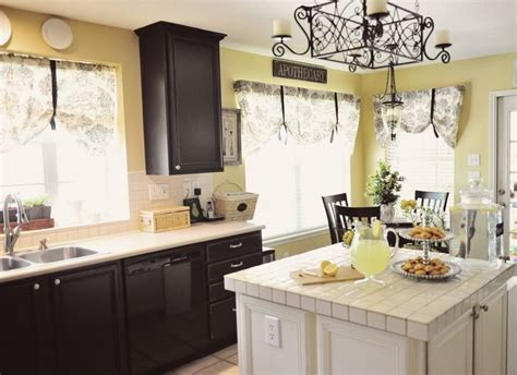 Kitchen With Black And White Cabinets Paint Colors Kitchen Cabinets With Black Paint And White Island And Wooden Countertop And Large