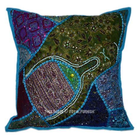 beaded pillows blue fabric patchwork design beaded square toss pillow