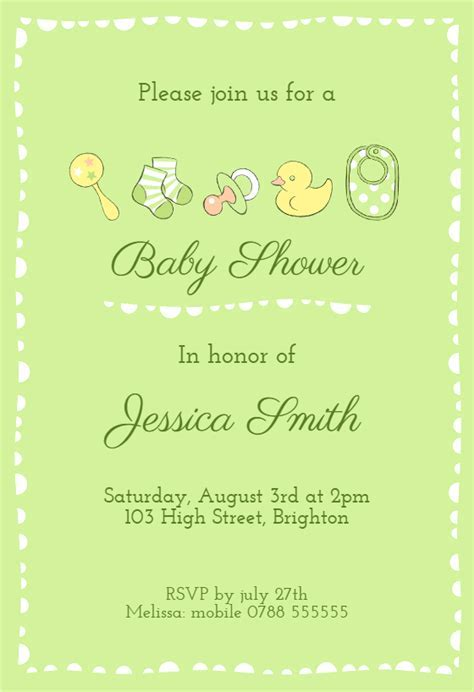 Green Baby Items   Baby Shower Invitation Template (Free