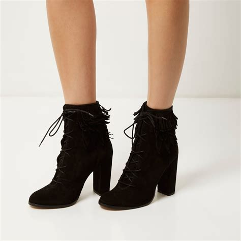 river island black suede lace up fringed heeled boots in