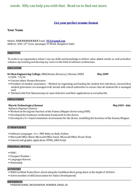 Resume Sample Architecture by Mba Resume Sample Format