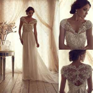 2014 new hot sale v neck lace wedding dress bridal gown size 4 6 8 10