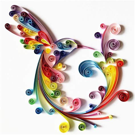 Handmade Artwork - quilled paper colourful hummingbird