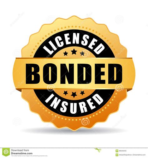 licensed bonded insured vector icon stock vector image