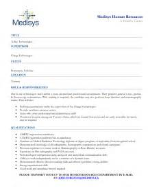 Tech Resume Sles by Sle Cover Letter For Radiation Technologist