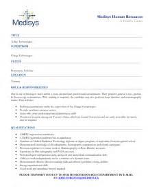 technician resume sles sle cover letter for radiation technologist