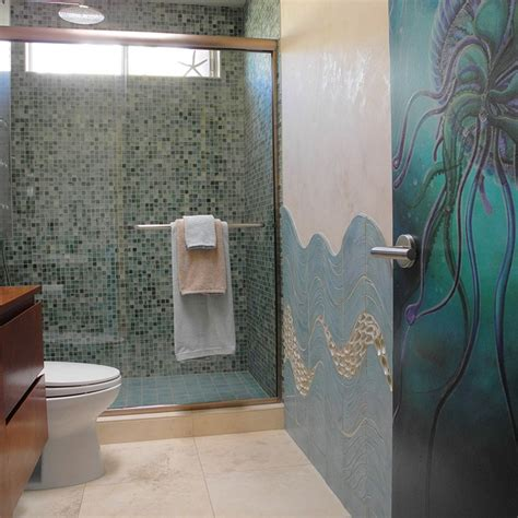 Modern Bathroom Ceramic Tile Custom Ceramic Tile And Jellyfish Door Modern Bathroom