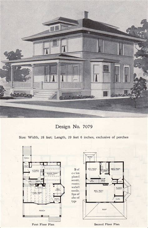 four square house plans prairie box american foursquare 1908 radford plan no 7079