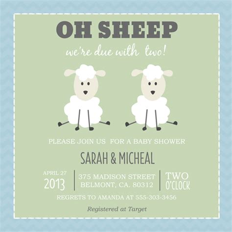 Sheep Baby Shower Invitations by Baby Shower Invitations Oh Sheep At Minted