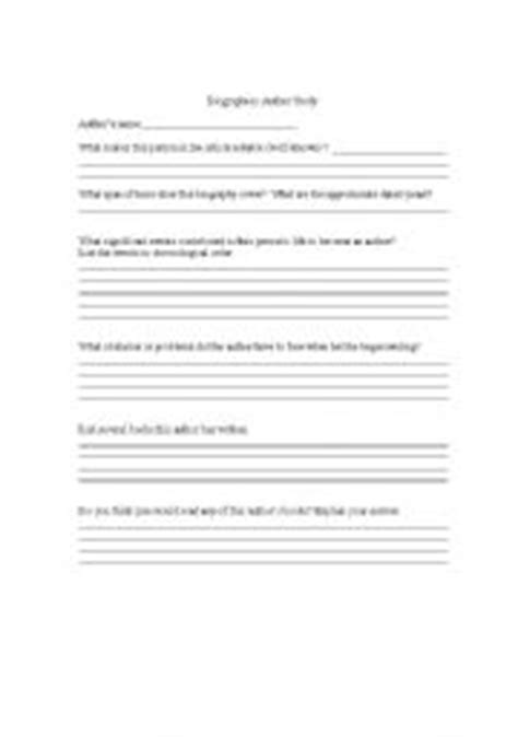 Author Study Worksheet by Worksheets Biograaphies Author Study