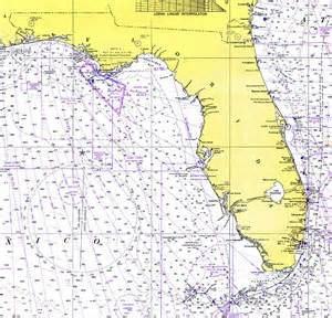 florida water depth map florida and the gulf of mexico 1975