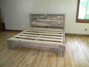 Reclaimed Wood Bed Frame Plans Diy Pallet Bed Pallet Furniture Plans