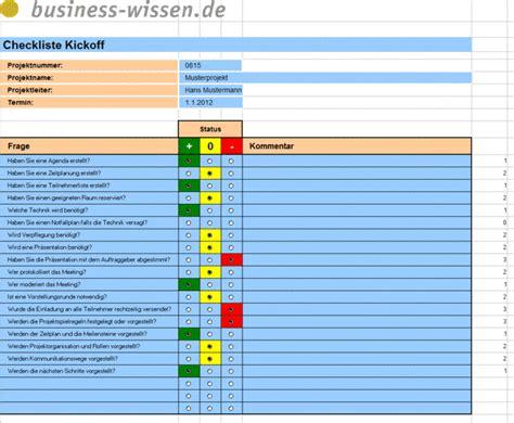 kick  meeting im projekt planen checkliste business