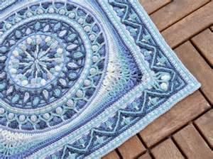 Wool Blue Rug Large Crochet Squares Or Second Life Of Dandelion Mandala