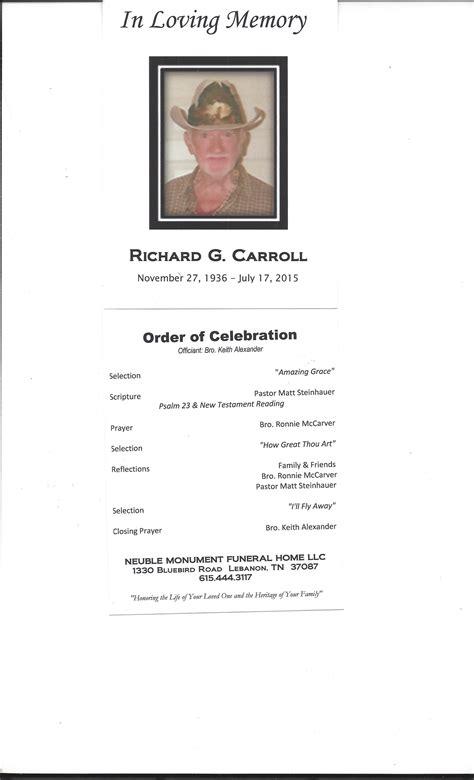 obituary programs 2015 neuble monument funeral home llc
