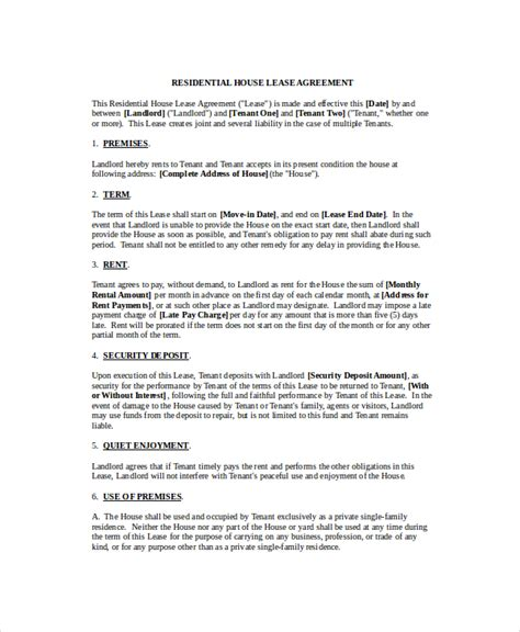 rental agreement template 9 free word pdf documents