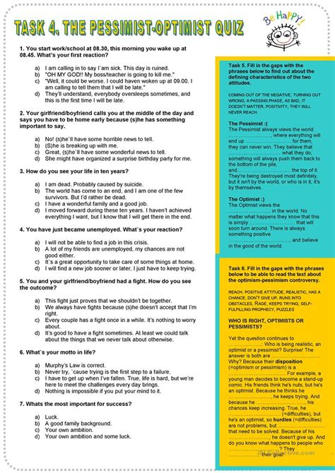printable temperament quiz pessimist optimist personality quiz worksheet free esl