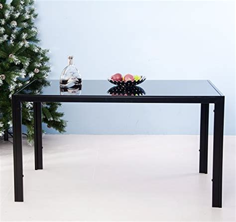 Glass Top Metal Legs Modern Dining Table Merax 55 Inch Modern Rectangle Tempered Glass Dining Table With Metal Legs Black Rings N Rollers