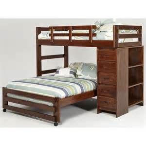 l shaped bunk bed with 5 drawer chest and