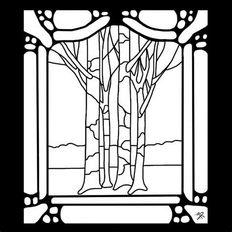 Art Nouveau Trees Stained Glass Pattern Stain Glass Tree Stained Glass Coloring Page