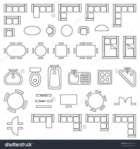 house layout furniture standard furniture symbols used in architecture plans