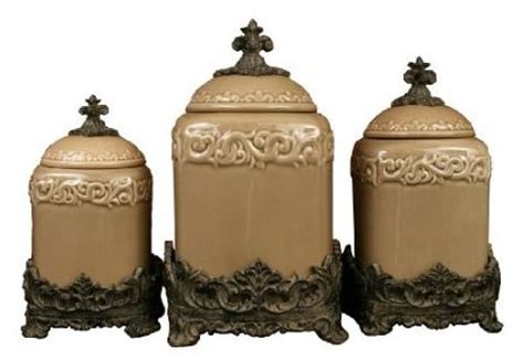 drake kitchen canisters three piece canister set in taupe ceramic body is oven